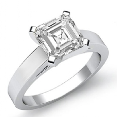 Flat Edge Cathedral 3.5mm Asscher diamond Engagement Solitaire Ring in 14k Gold White