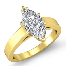 Flat Edge Cathedral Solitaire Marquise diamond  Ring in 14k Gold Yellow