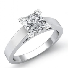 Flat Edge Cathedral Solitaire diamond Ring 14k Gold White