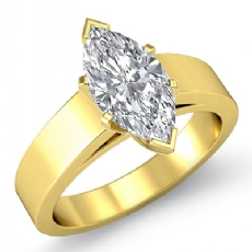 Flat Cathedral Solitaire Marquise diamond  Ring in 14k Gold Yellow