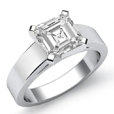 Flat Cathedral Solitaire Asscher diamond  Ring in 14k Gold White