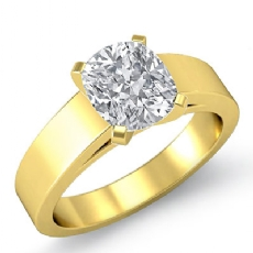 Flat Cathedral Solitaire Cushion diamond  Ring in 18k Gold Yellow
