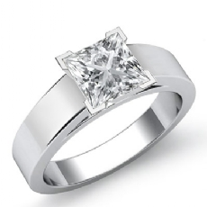 Solitaire Cathedral Style Princess diamond engagement Ring in 14k Gold White