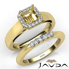U Prong Diamond Engagement Semi Mount Ring Asscher Bridal Set 14k Gold Yellow  (0.42Ct. tw.)