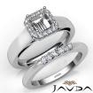U Prong Diamond Engagement Semi Mount Ring Asscher Bridal Set 14k White Gold 0.42Ct - javda.com