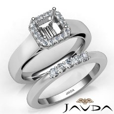 U Prong Diamond Engagement Semi Mount Ring Asscher Bridal Set 14K W Gold 0.42Ct