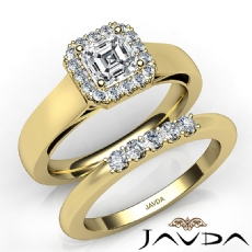 Filigree Halo Pave Set Bridal Asscher diamond engagement Ring in 14k Gold Yellow