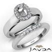 U Prong Diamond Engagement Semi Mount Ring Cushion Bridal Set 14k White Gold 0.43Ct - javda.com