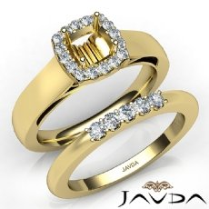U Prong Diamond Engagement Ring Cushion Semi Mount Bridal Set 14k Gold Yellow  (0.4Ct. tw.)