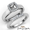 U Prong Diamond Engagement Ring Cushion Semi Mount Bridal Set 14k White Gold 0.4Ct - javda.com