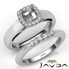 U Prong Diamond Engagement Ring Cushion Semi Mount Bridal Set 14K W Gold 0.40Ct