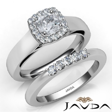 Solitaire Halo Bridal Set Cushion diamond engagement Ring in 14k Gold White