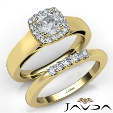 Solitaire Halo Bridal Set Cushion diamond engagement Ring in 14k Gold Yellow