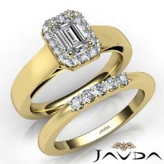 Bridal Set Filigree Halo Pave Emerald diamond engagement Ring in 14k Gold Yellow