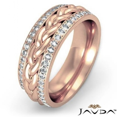 Braided Diamond Eternity Men's Wedding Band in 18k Rose Gold  (0.57Ct. tw.)