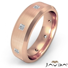 Bevel Edge Brushed Bezel Diamond Eternity Mens Wedding Band 14k Rose Gold  (0.5Ct. tw.)
