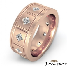 Grooved kite Set Princess Diamond Men's Eternity Wedding Band 18k Rose Gold  (1.4Ct. tw.)