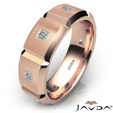 Beveled Edge Matte Men's Diamond Eternity Wedding Band 18k Rose Gold  (0.5Ct. tw.)