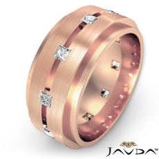 Center Grooved  Princess Diamond Eternity Men's Wedding Band 18k Rose Gold (0.7Ct. tw.)