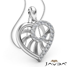 Swirl Heart Pendant Necklace 18k Gold White 18 Inch Chain  Diamond (0.39Ct. tw.)