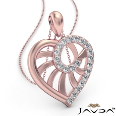 Swirl Heart Pendant Necklace 14k Rose Gold 18 Inch Chain  Diamond (0.39Ct. tw.)