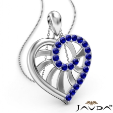 Swirl Heart Pendant Necklace 18k Gold White 18 Inch Chain <Dcarat> Sapphire