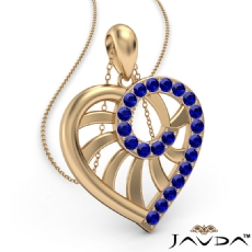 Swirl Heart Pendant Necklace 14k Gold Yellow 18 Inch Chain <Dcarat> Sapphire