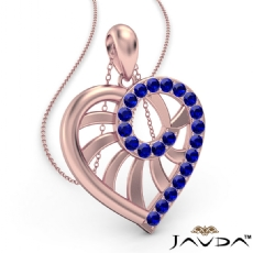 Swirl Heart Pendant Necklace 14k Rose Gold 18 Inch Chain <Dcarat> Sapphire