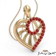 Swirl Heart Pendant Necklace 14k Gold Yellow18 Inch Chain <Dcarat> Ruby