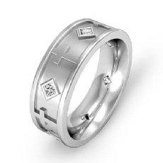 Cross Design Men's Princess Diamond Eternity Wedding Band 14k White Gold 0.30 Ct