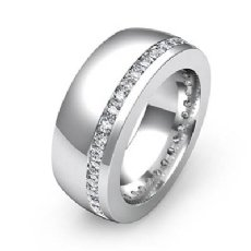 Offset Channel Round Diamond Men's Eternity Wedding Band in 14k White Gold 1 Ct