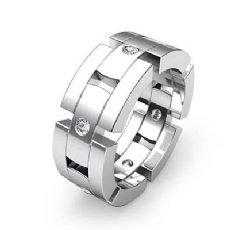 0.35 Ct Block Link Round Diamond Men's Eternity Wedding Band in 14k White Gold