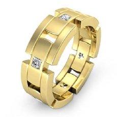 Block Link  Princess Diamond Men's Eternity Wedding Band 14k Gold Yellow (0.6Ct. tw.)