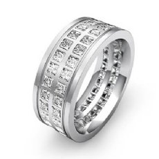 Double Row Princess Diamond Men's Eternity Wedding Band 14k White Gold 3 Ct