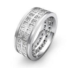 Double Row Princess Diamond Men's Eternity Wedding Band 18k Gold White  (3Ct. tw.)