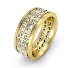 Double Row Princess Diamond Men's Eternity Wedding Band 14k Gold Yellow  (3Ct. tw.)