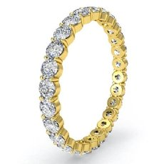 Womens Eternity Wedding Band 14k Gold Yellow Round Shared Prong Diamond Ring  (1Ct. tw.)