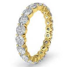 Round Cut Shared Prong Diamond Eternity Wedding Band Womens Ring 18k Gold Yellow  (2Ct. tw.)