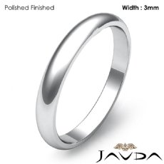 3mm Dome Plain Ring Simple Mens Wedding Solid Band Platinum 950 3.8g 4