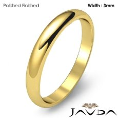 3mm Dome Plain Ring Simple Mens Wedding Solid Band 18k Gold Yellow 2.9g 4