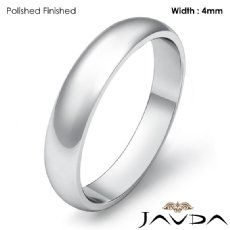 Classic Men 4mm Solid Platinum 950 Plain Dome Wedding Ring Band 5.1g 4