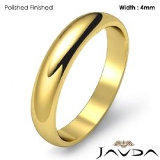 Classic Men 4mm Solid 18k Gold Yellow Plain Dome Wedding Ring Band 3.9g 4