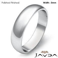 5mm Solid 14k White Gold Dome Plain Polish Mens Wedding Band Ring 3.9g 4sz