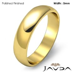 5mm Solid 18k Gold Yellow Dome Plain Polish Mens Wedding Band Ring 4.8g 4