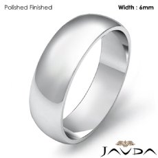 Mens Wedding Band Dome Plain Polish Solid Ring 6mm Platinum 950 7.6g 4