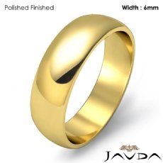 Mens Wedding Band Dome Plain Polish Solid Ring 6mm 18k Gold Yellow 5.6g 4