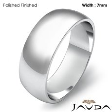 7mm 14k White Gold Simple Mens Wedding Solid Band Dome Plain Ring 5.5g 4sz