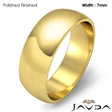 7mm 18k Gold Yellow Simple Mens Wedding Solid Band Dome Plain Ring 6.6g 4