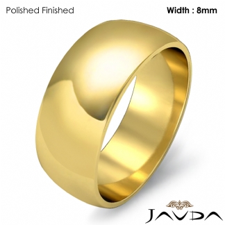 Solid 14k Gold Yellow Plain Dome Mens Wedding Band Polish Ring 8mm 7 1g 6