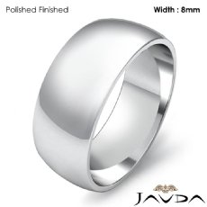 Solid 14k White Gold Plain Dome Mens Wedding Band Polish Ring 8mm 6.3g 4sz
